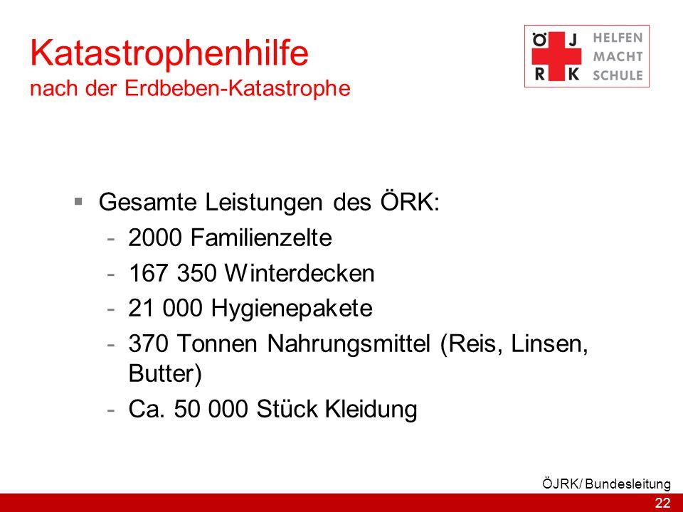 22 ÖJRK/ Bundesleitung Katastrophenhilfe nach der Erdbeben-Katastrophe  Gesamte Leistungen des ÖRK: -2000 Familienzelte -167 350 Winterdecken -21 000