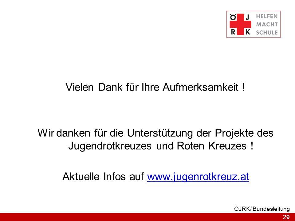 29 ÖJRK/ Bundesleitung Vielen Dank für Ihre Aufmerksamkeit ! Wir danken für die Unterstützung der Projekte des Jugendrotkreuzes und Roten Kreuzes ! Ak