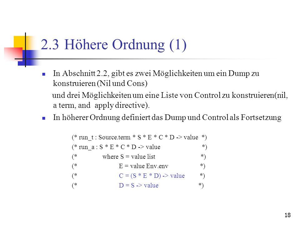 18 2.3 Höhere Ordnung (1) In Abschnitt 2.2, gibt es zwei Möglichkeiten um ein Dump zu konstruieren (Nil und Cons) und drei Möglichkeiten um eine Liste von Control zu konstruieren(nil, a term, and apply directive).