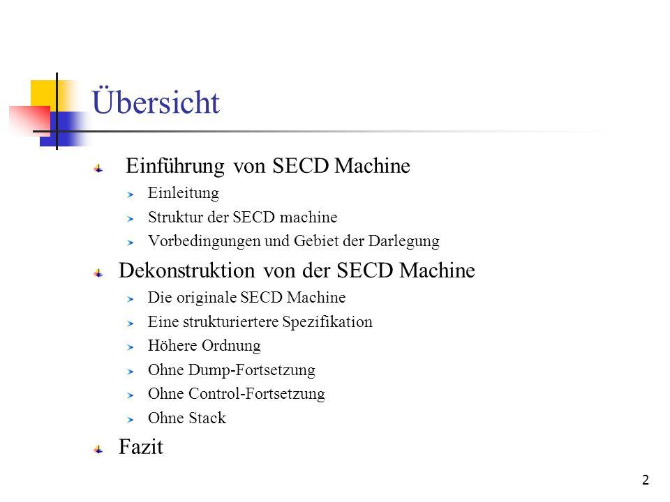 23 Vergleichen von höherer Ordnung und ohne dump-Fortsetzung Die höhere Ordnung (* run_t : Source.term * S * E * C * D -> value *) (* run_a : S * E * C * D -> value *) (* where S = value list *) (* E = value Env.env *) (* C = (S * E * D) -> value *) (* D = S -> value *) (* evaluate2 : Source.program -> value *) fun evaluate2 t = run_t (t, nil, e_init, fn (s, _, d) => d s, fn (v :: nil) => v) Ohne Dump-Fortsetzung (* eval : Source.term * S * E * C -> stack *) (* apply : S * E * C -> S *) (* where S = value list *) (* E = value Env.env *) (* C = S * E -> S *) (* evaluate3 : Source.program -> value *) fun evaluate3 t = let val (v :: nil) = eval (t, nil, e_init, fn (s, _ ) => s) in v end