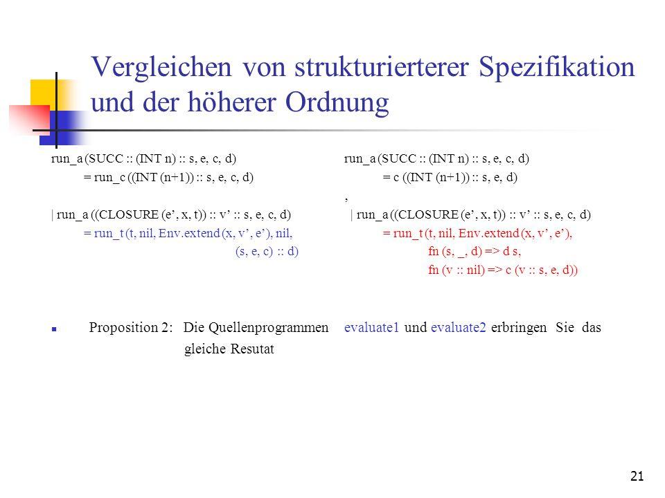 21 Vergleichen von strukturierterer Spezifikation und der höherer Ordnung run_a (SUCC :: (INT n) :: s, e, c, d) = run_c ((INT (n+1)) :: s, e, c, d) | run_a ((CLOSURE (e', x, t)) :: v' :: s, e, c, d) = run_t (t, nil, Env.extend (x, v', e'), nil, (s, e, c) :: d) Proposition 2: Die Quellenprogrammen gleiche Resutat run_a (SUCC :: (INT n) :: s, e, c, d) = c ((INT (n+1)) :: s, e, d) ' | run_a ((CLOSURE (e', x, t)) :: v' :: s, e, c, d) = run_t (t, nil, Env.extend (x, v', e'), fn (s, _, d) => d s, fn (v :: nil) => c (v :: s, e, d)) evaluate1 und evaluate2 erbringen Sie das