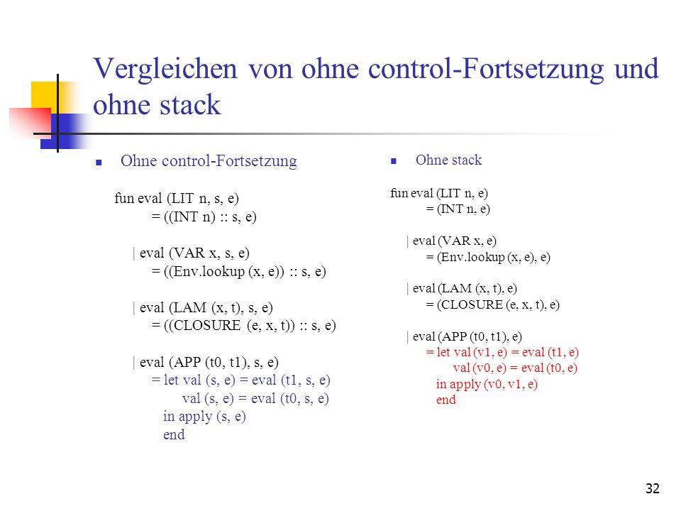32 Vergleichen von ohne control-Fortsetzung und ohne stack Ohne control-Fortsetzung fun eval (LIT n, s, e) = ((INT n) :: s, e)   eval (VAR x, s, e) = ((Env.lookup (x, e)) :: s, e)   eval (LAM (x, t), s, e) = ((CLOSURE (e, x, t)) :: s, e)   eval (APP (t0, t1), s, e) = let val (s, e) = eval (t1, s, e) val (s, e) = eval (t0, s, e) in apply (s, e) end Ohne stack fun eval (LIT n, e) = (INT n, e)   eval (VAR x, e) = (Env.lookup (x, e), e)   eval (LAM (x, t), e) = (CLOSURE (e, x, t), e)   eval (APP (t0, t1), e) = let val (v1, e) = eval (t1, e) val (v0, e) = eval (t0, e) in apply (v0, v1, e) end