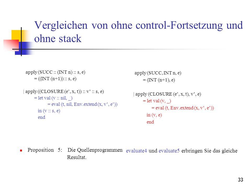 33 Vergleichen von ohne control-Fortsetzung und ohne stack apply (SUCC :: (INT n) :: s, e) = ((INT (n+1)) :: s, e)   apply ((CLOSURE (e', x, t)) :: v' :: s, e) = let val (v :: nil, _) = eval (t, nil, Env.extend (x, v', e')) in (v :: s, e) end Proposition 5: Die Quellenprogrammen Resultat.