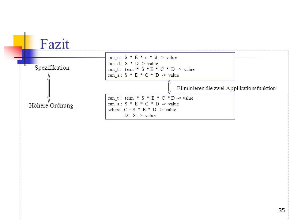35 Fazit Spezifikation Eliminieren die zwei Applikationsfunktion Höhere Ordnung run_c : S * E * c * d -> value run_d : S * D -> value run_t : term * S * E * C * D -> value run_a : S * E * C * D -> value run_t : term * S * E * C * D -> value run_a : S * E * C * D -> value where C = S * E * D -> value D = S -> value
