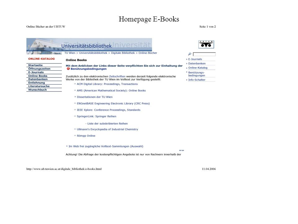 Homepage E-Books