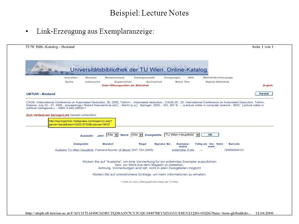 Beispiel: Lecture Notes Link-Erzeugung aus Exemplaranzeige: