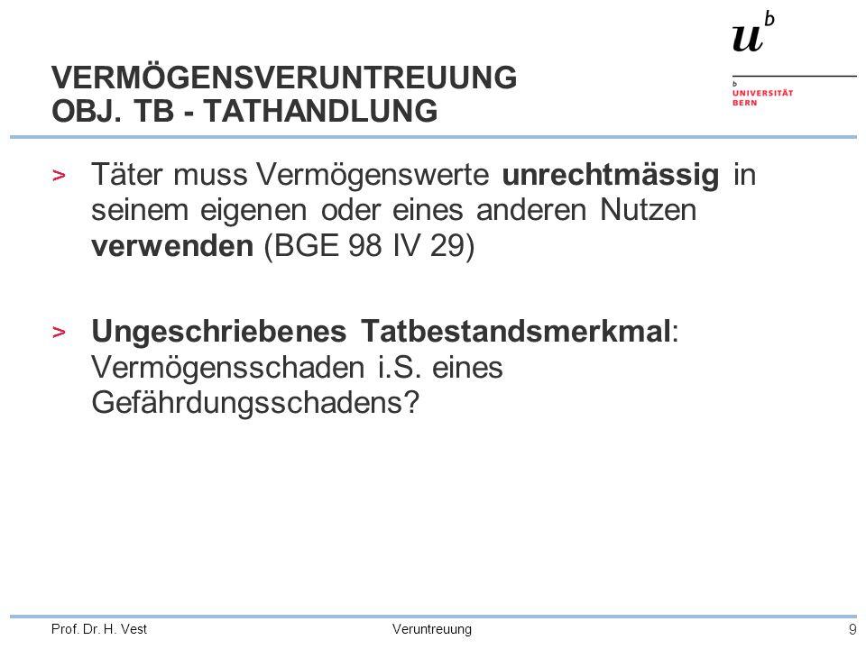 Veruntreuung 9 Prof. Dr. H. Vest VERMÖGENSVERUNTREUUNG OBJ. TB - TATHANDLUNG > Täter muss Vermögenswerte unrechtmässig in seinem eigenen oder eines an