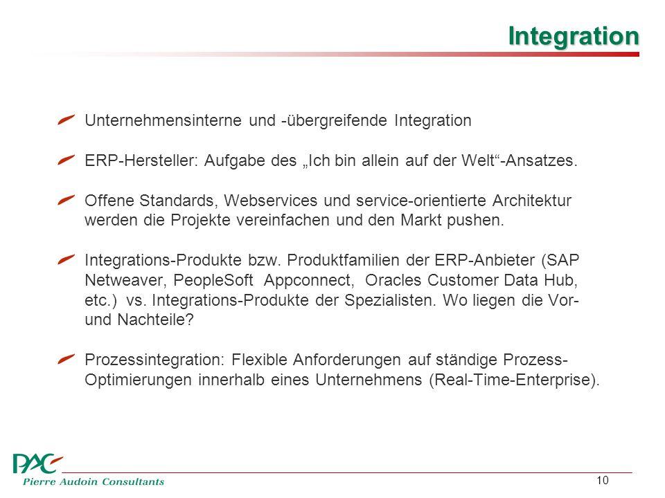 """10 Integration Unternehmensinterne und -übergreifende Integration ERP-Hersteller: Aufgabe des """"Ich bin allein auf der Welt -Ansatzes."""