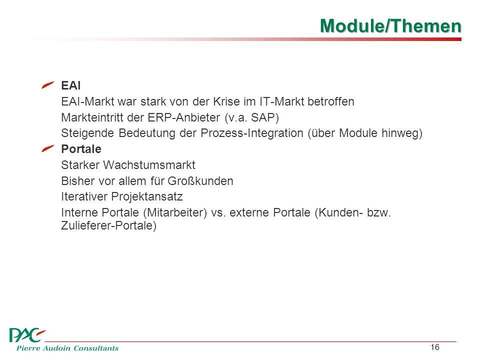 16 Module/Themen EAI EAI-Markt war stark von der Krise im IT-Markt betroffen Markteintritt der ERP-Anbieter (v.a.