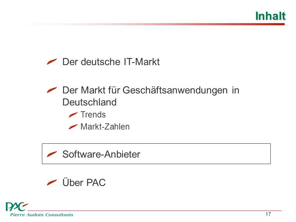 17 Inhalt Der deutsche IT-Markt Der Markt für Geschäftsanwendungen in Deutschland Trends Markt-Zahlen Software-Anbieter Über PAC