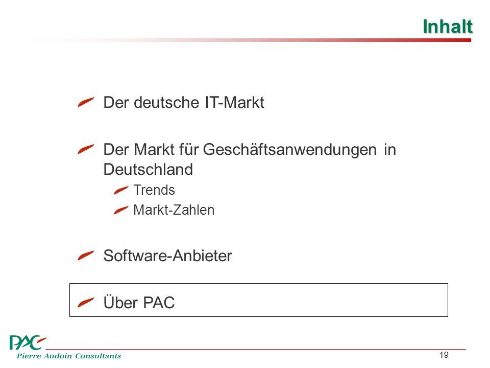 19 Inhalt Der deutsche IT-Markt Der Markt für Geschäftsanwendungen in Deutschland Trends Markt-Zahlen Software-Anbieter Über PAC