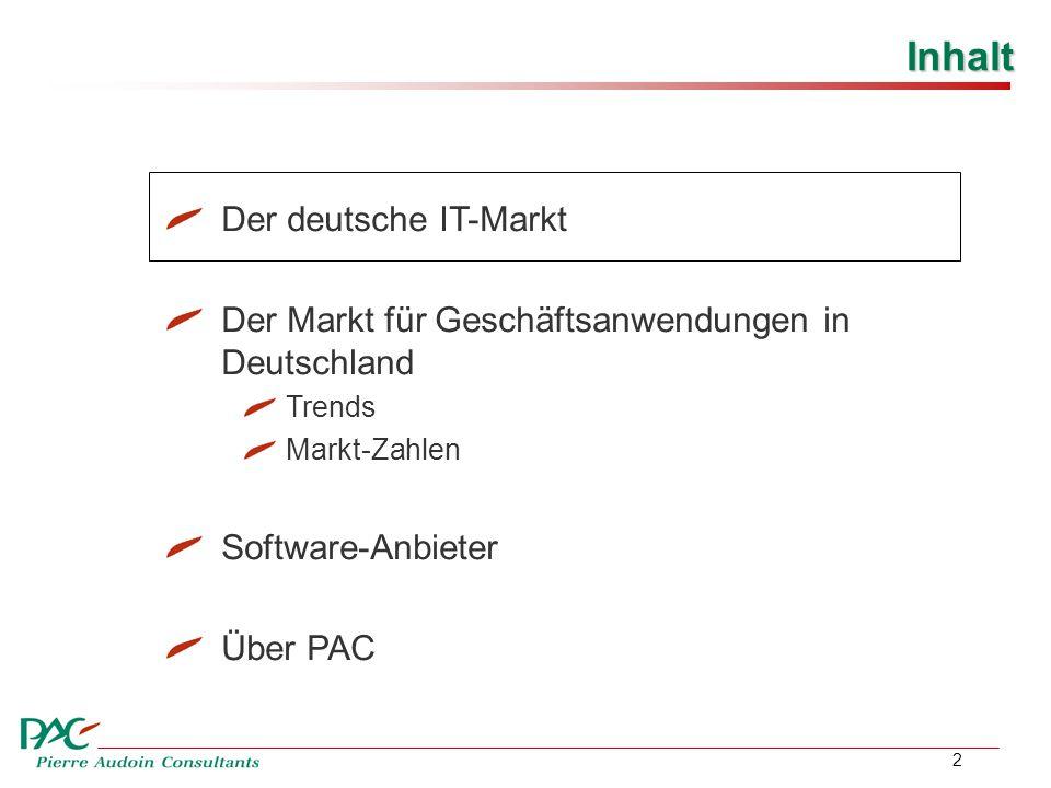 2 Inhalt Der deutsche IT-Markt Der Markt für Geschäftsanwendungen in Deutschland Trends Markt-Zahlen Software-Anbieter Über PAC