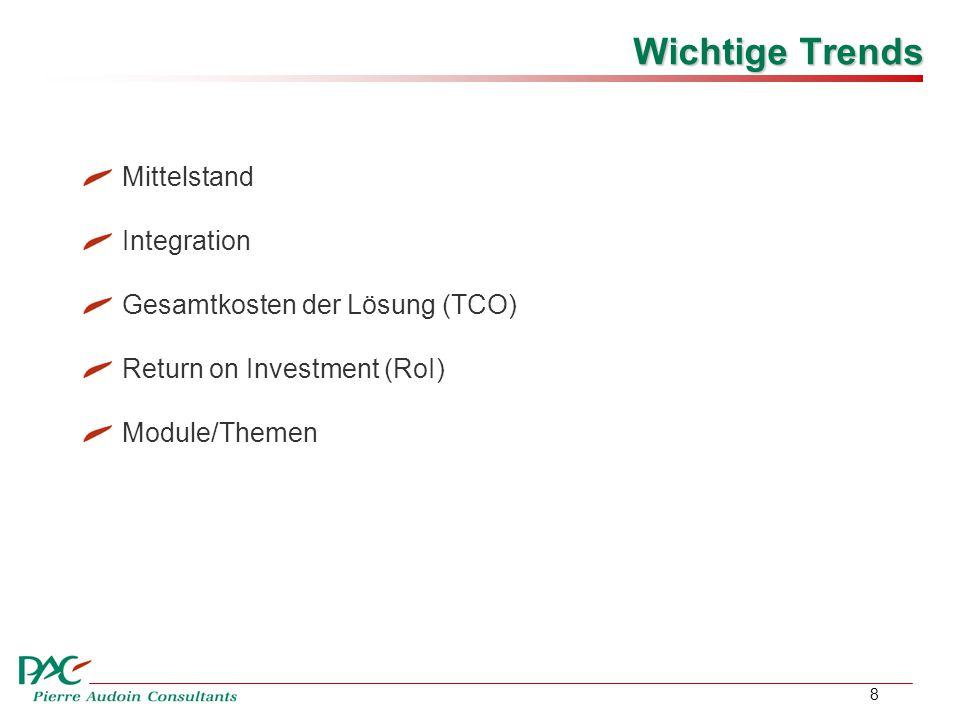 8 Wichtige Trends Mittelstand Integration Gesamtkosten der Lösung (TCO) Return on Investment (RoI) Module/Themen