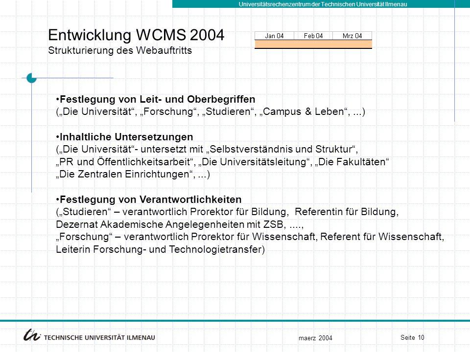 Universitätsrechenzentrum der Technischen Universität Ilmenau maerz 2004 Seite 10 Entwicklung WCMS 2004 Strukturierung des Webauftritts Festlegung von