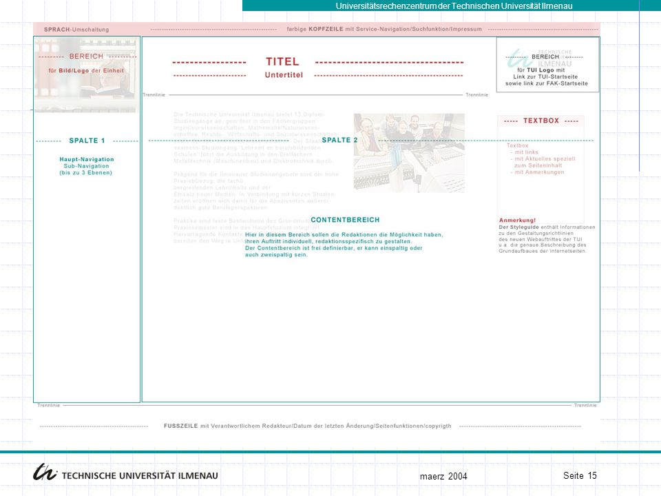 Universitätsrechenzentrum der Technischen Universität Ilmenau maerz 2004 Seite 15