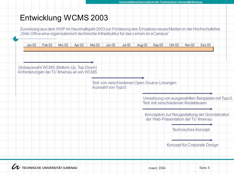 """Universitätsrechenzentrum der Technischen Universität Ilmenau maerz 2004 Seite 6 Entwicklung WCMS 2003 Grobauswahl WCMS (Bottom-Up, Top-Down) Anforderungen der TU Ilmenau an ein WCMS Test von verschiedenen Open-Source-Lösungen Auswahl von Typo3 Konzeption zur Neugestaltung der Grundstruktur der Web-Präsentation der TU Ilmenau Umsetzung von ausgewählten Beispielen mit Typo3, Test mit verschiedenen Redakteuren Technisches Konzept Konzept für Corporate Design Zuweisung aus dem HWP im Haushaltsjahr 2003 zur Förderung des Einsatzes neues Medien in der Hochschullehre """"Web-Office eine organisatorisch-technische Infrastruktur für das Lernen im eCampus"""