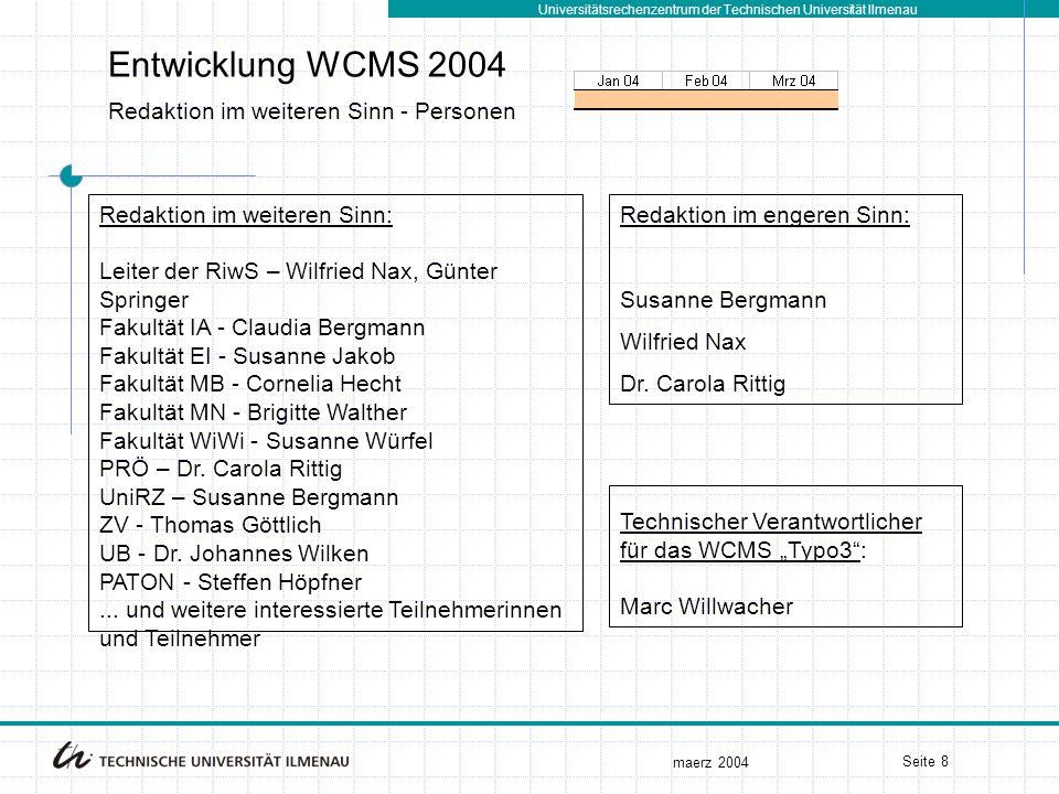 Universitätsrechenzentrum der Technischen Universität Ilmenau maerz 2004 Seite 8 Entwicklung WCMS 2004 Redaktion im weiteren Sinn - Personen Redaktion