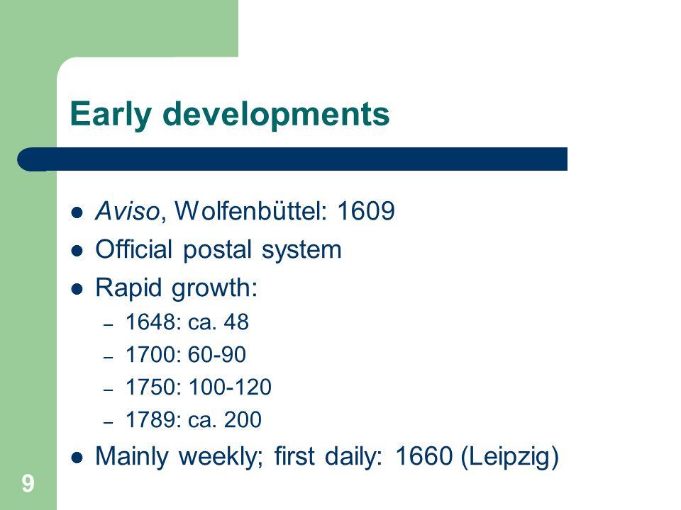 9 Early developments Aviso, Wolfenbüttel: 1609 Official postal system Rapid growth: – 1648: ca. 48 – 1700: 60-90 – 1750: 100-120 – 1789: ca. 200 Mainl