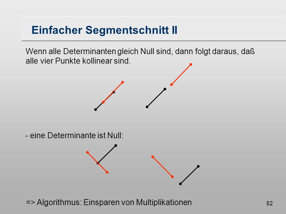 52 Einfacher Segmentschnitt II Wenn alle Determinanten gleich Null sind, dann folgt daraus, daß alle vier Punkte kollinear sind.