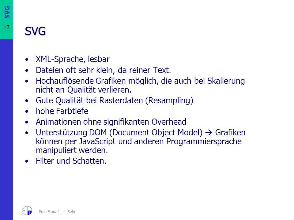 12 Prof. Franz-Josef Behr SVG XML-Sprache, lesbar Dateien oft sehr klein, da reiner Text. Hochauflösende Grafiken möglich, die auch bei Skalierung nic