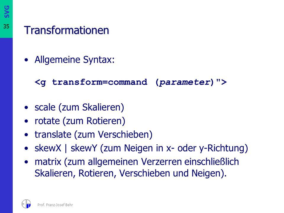 SVG 35 Prof. Franz-Josef Behr Transformationen Allgemeine Syntax: scale (zum Skalieren) rotate (zum Rotieren) translate (zum Verschieben) skewX | skew