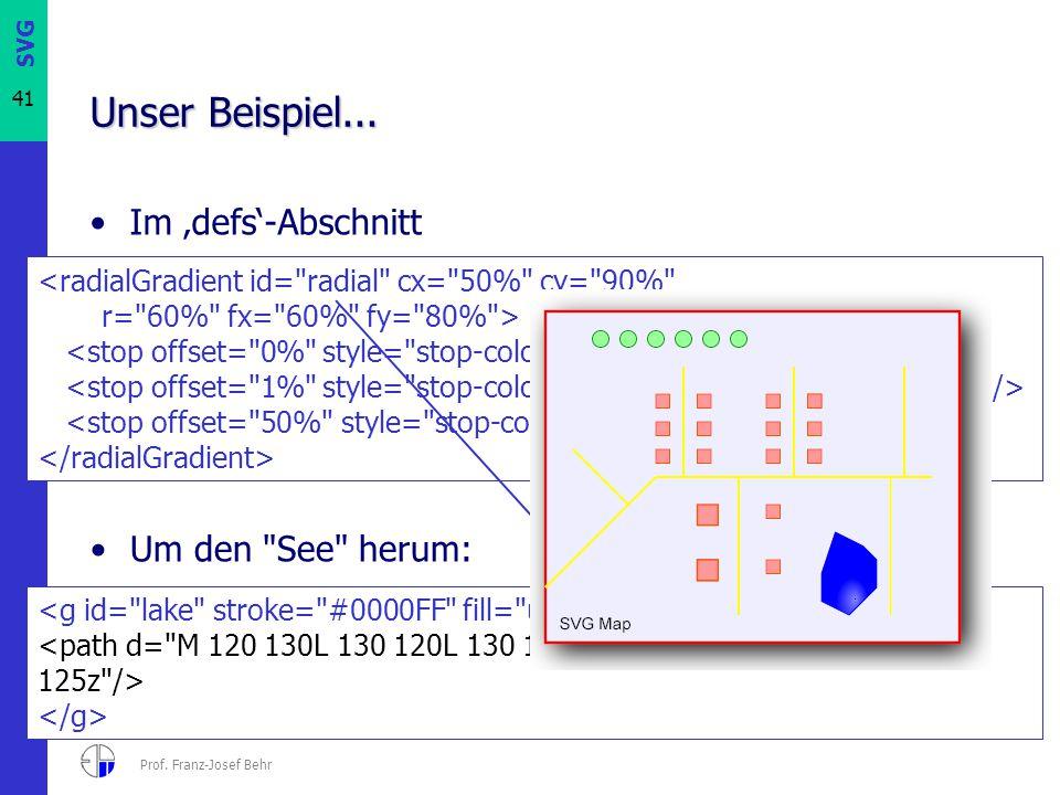 SVG 41 Prof. Franz-Josef Behr Unser Beispiel... Im 'defs'-Abschnitt Um den