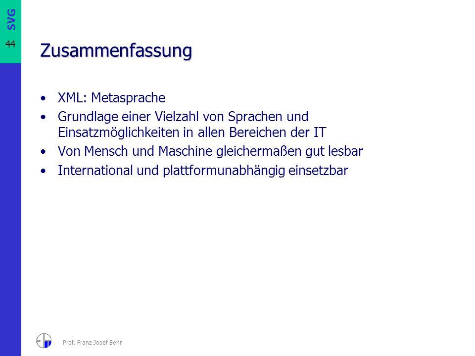 SVG 44 Prof. Franz-Josef Behr Zusammenfassung XML: Metasprache Grundlage einer Vielzahl von Sprachen und Einsatzmöglichkeiten in allen Bereichen der I