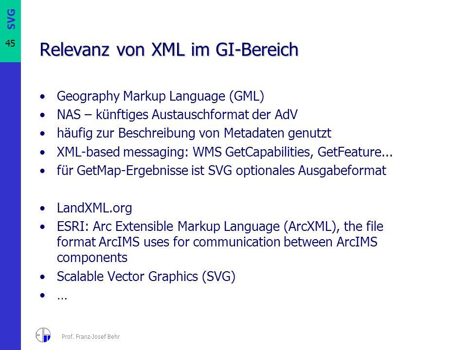 SVG 45 Prof. Franz-Josef Behr Relevanz von XML im GI-Bereich Geography Markup Language (GML) NAS – künftiges Austauschformat der AdV häufig zur Beschr