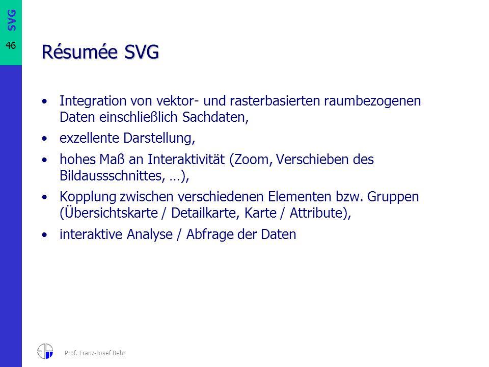 SVG 46 Prof. Franz-Josef Behr Résumée SVG Integration von vektor- und rasterbasierten raumbezogenen Daten einschließlich Sachdaten, exzellente Darstel