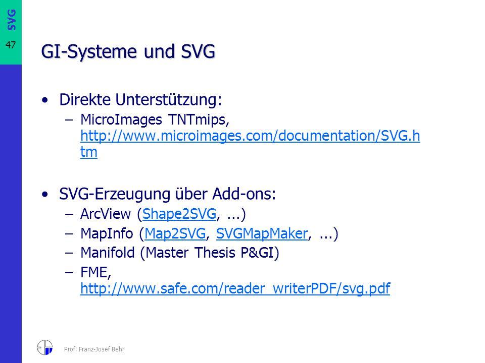 SVG 47 Prof. Franz-Josef Behr GI-Systeme und SVG Direkte Unterstützung: –MicroImages TNTmips, http://www.microimages.com/documentation/SVG.h tm http:/