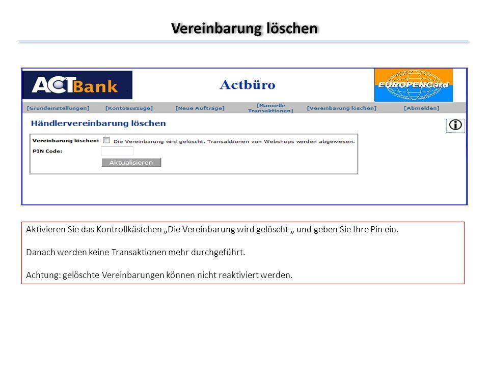 Neue Aufträge Diese Option steht nur bei Integration der Europen Credit Card als Zahlungsmethode in einem Webshop zur Verfügung.