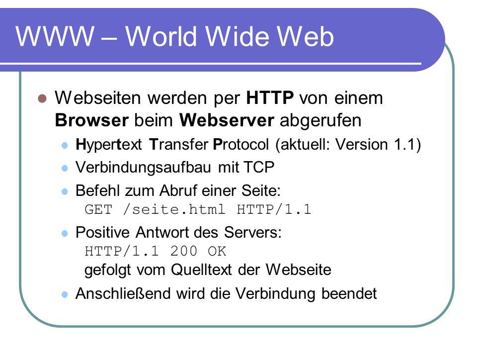 WWW – World Wide Web Webseiten werden per HTTP von einem Browser beim Webserver abgerufen Hypertext Transfer Protocol (aktuell: Version 1.1) Verbindun