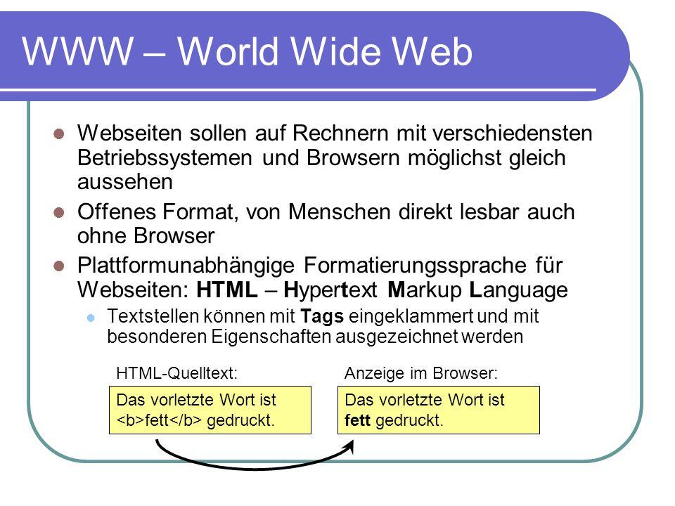 WWW – World Wide Web Webseiten sollen auf Rechnern mit verschiedensten Betriebssystemen und Browsern möglichst gleich aussehen Offenes Format, von Men