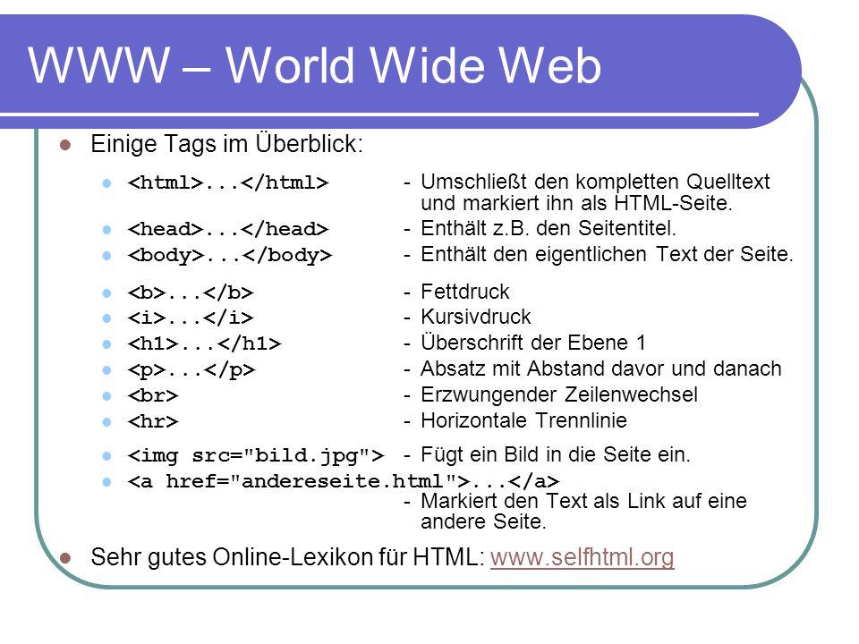 WWW – World Wide Web Einige Tags im Überblick:... - Umschließt den kompletten Quelltext und markiert ihn als HTML-Seite.... - Enthält z.B. den Seitent