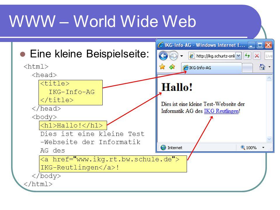 WWW – World Wide Web Eine kleine Beispielseite: IKG-Info-AG Hallo! Dies ist eine kleine Test -Webseite der Informatik AG des IKG-Reutlingen !