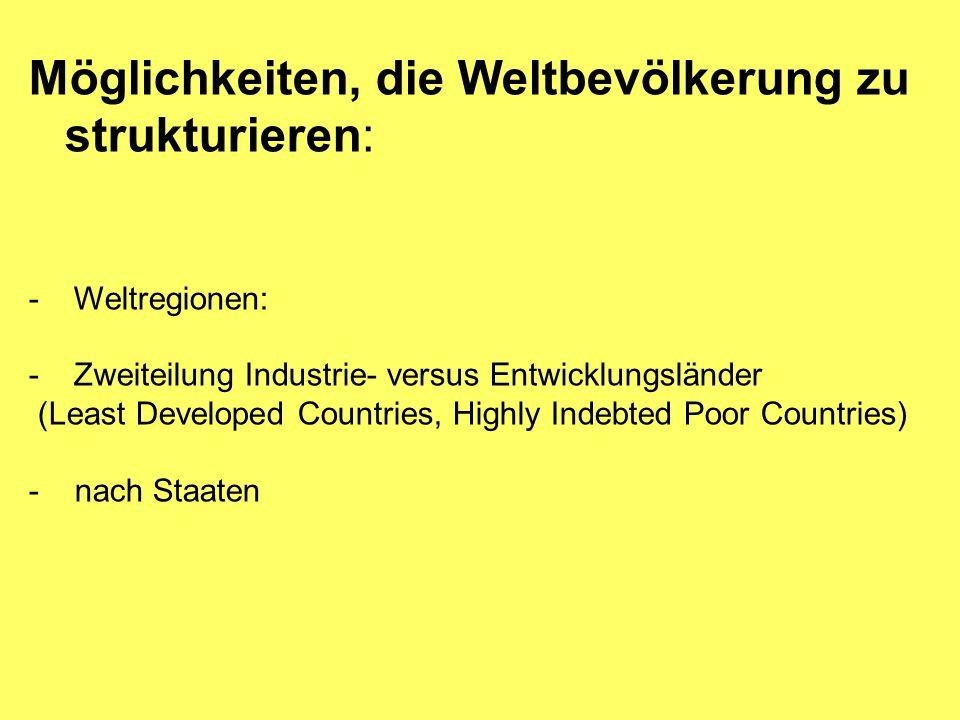 Möglichkeiten, die Weltbevölkerung zu strukturieren: - Weltregionen: - Zweiteilung Industrie- versus Entwicklungsländer (Least Developed Countries, Highly Indebted Poor Countries) - nach Staaten