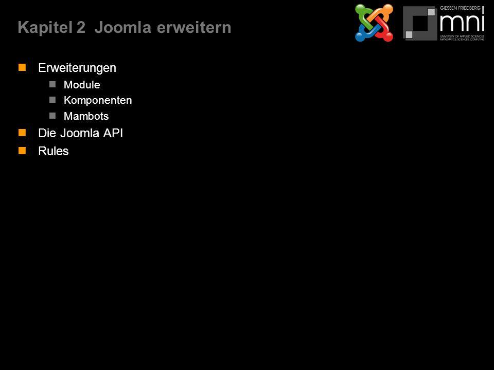Kapitel 2Joomla erweitern Erweiterungen Module Komponenten Mambots Die Joomla API Rules