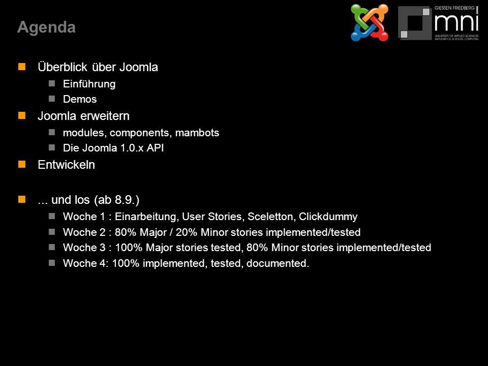 Kapitel 1Überblick über Joomla (1.0.x) Was ist Joomla Einordnung & Alternativen Funktionen Versionen & Umgebung Installation Frontend & Backend Rollen Baukasten Demo: Fontend & Backend Seitenentwurf Demo: www.mni.fh-giessen.de