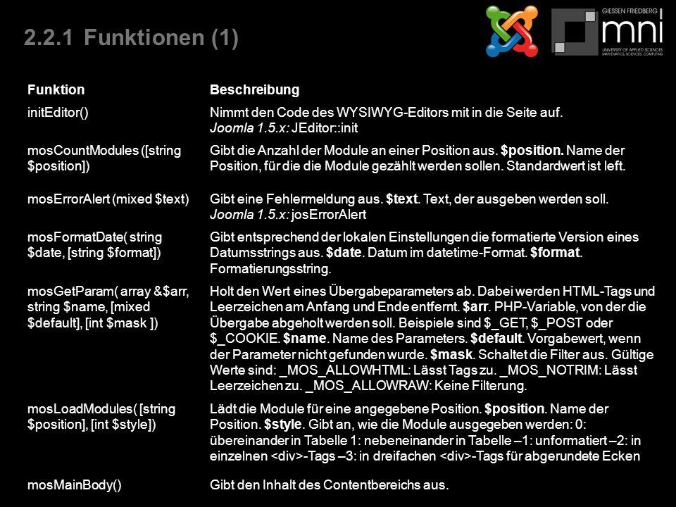 2.2.1Funktionen (1) FunktionBeschreibung initEditor()Nimmt den Code des WYSIWYG-Editors mit in die Seite auf.