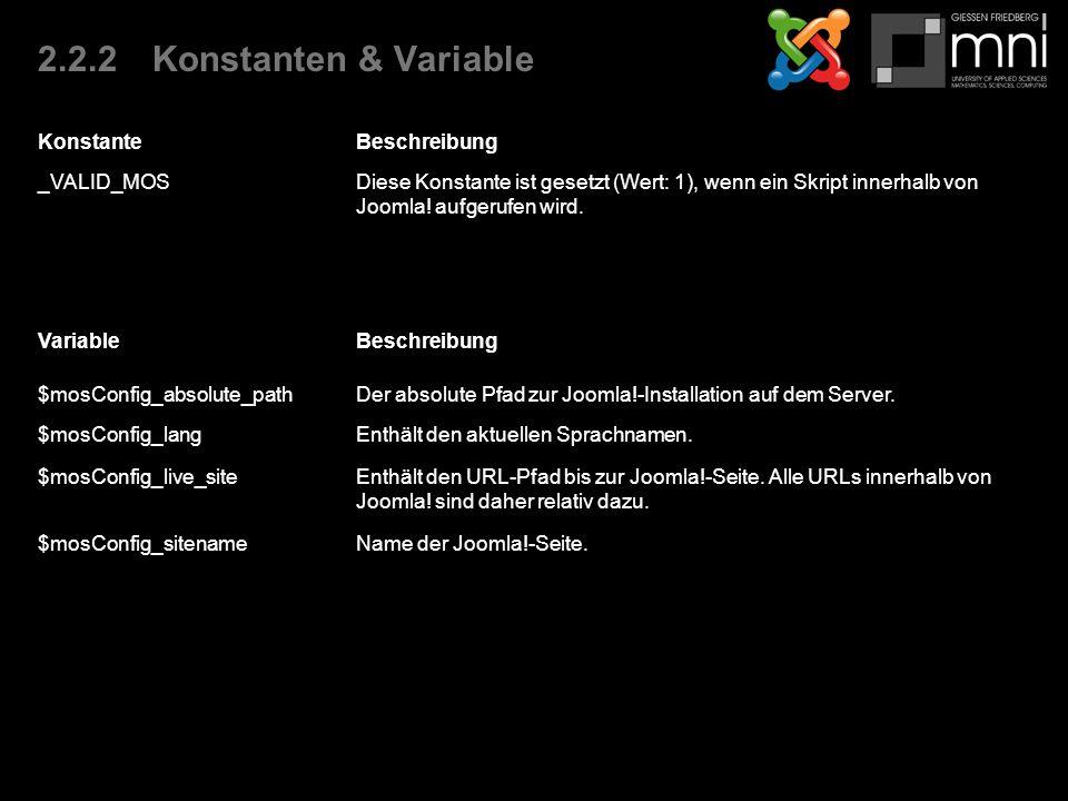 2.2.2Konstanten & Variable KonstanteBeschreibung _VALID_MOSDiese Konstante ist gesetzt (Wert: 1), wenn ein Skript innerhalb von Joomla.