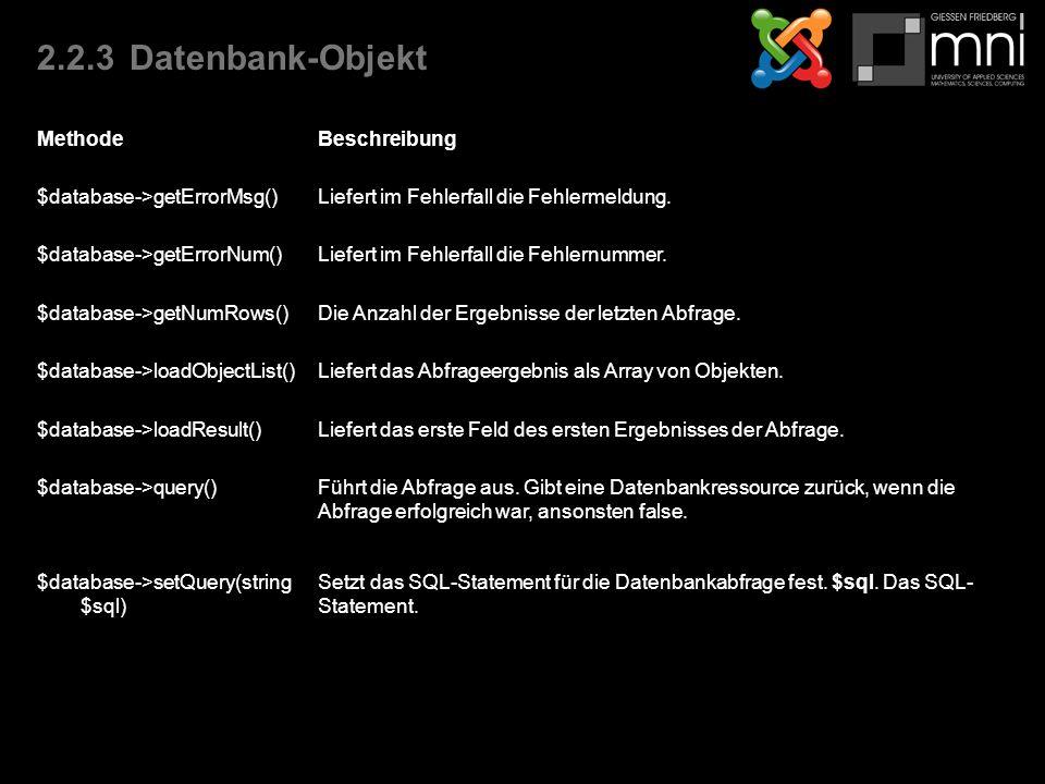 2.2.3Datenbank-Objekt MethodeBeschreibung $database->getErrorMsg()Liefert im Fehlerfall die Fehlermeldung.