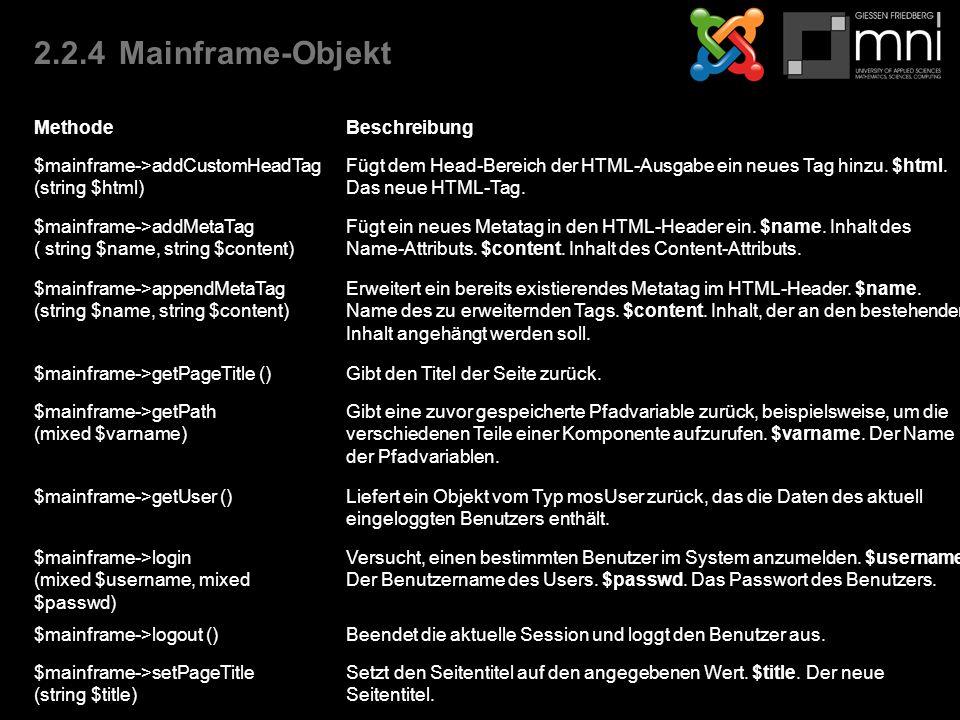 2.2.4Mainframe-Objekt MethodeBeschreibung $mainframe->addCustomHeadTag (string $html) Fügt dem Head-Bereich der HTML-Ausgabe ein neues Tag hinzu.