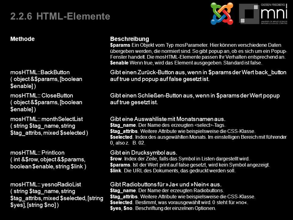 2.2.6HTML-Elemente MethodeBeschreibung $params Ein Objekt vom Typ mosParameter.