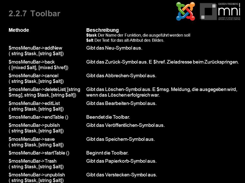 2.2.7Toolbar MethodeBeschreibung $task Der Name der Funktion, die ausgeführt werden soll $alt Der Text für das alt-Attribut des Bildes.