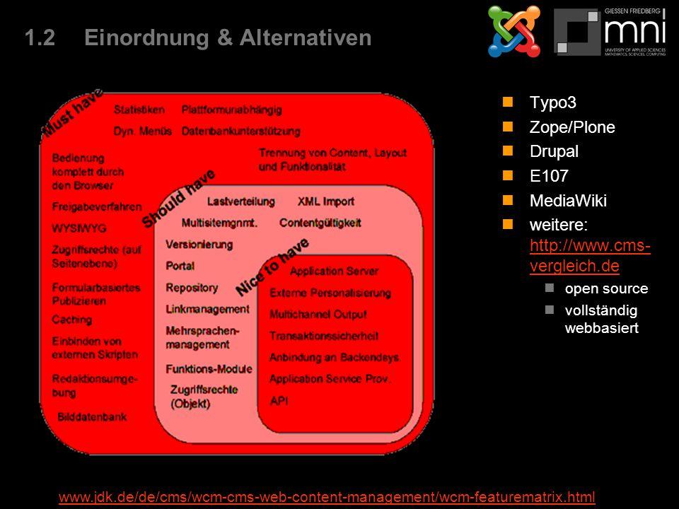 1.2Einordnung & Alternativen Typo3 Zope/Plone Drupal E107 MediaWiki weitere: http://www.cms- vergleich.de http://www.cms- vergleich.de open source vol