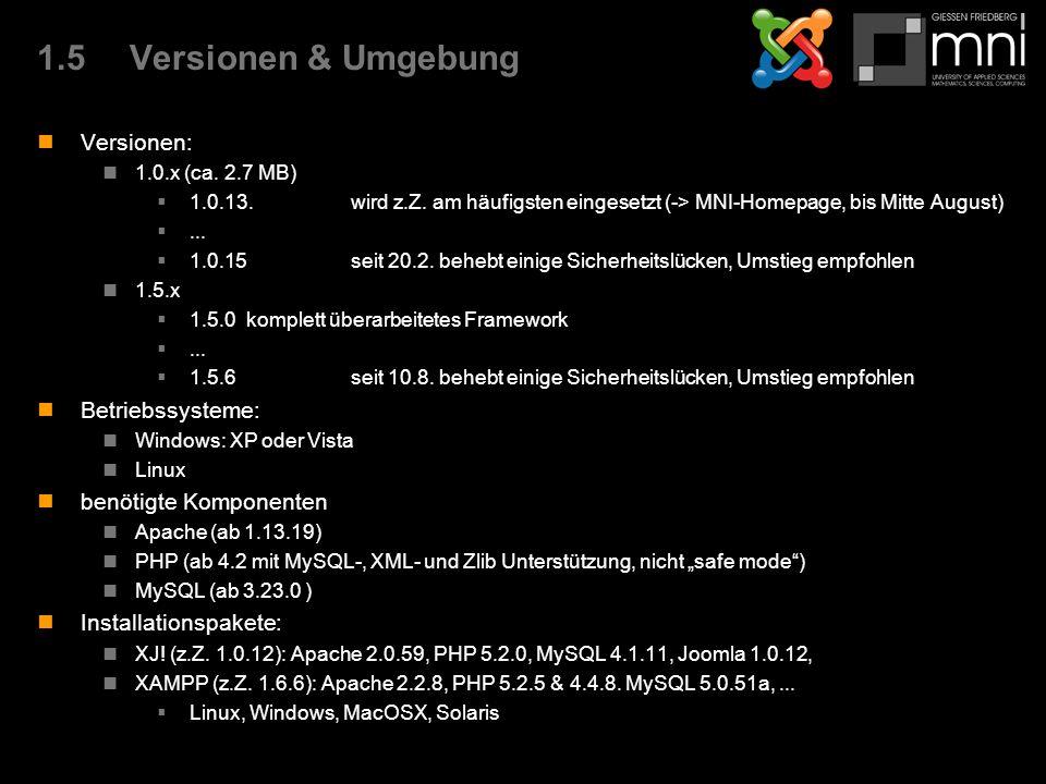 1.5Versionen & Umgebung Versionen: 1.0.x (ca. 2.7 MB)  1.0.13.wird z.Z.