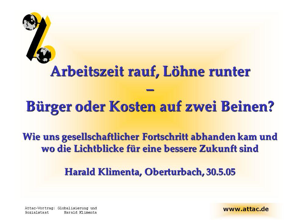 www.attac.de Attac-Vortrag: Globalisierung und Sozialstaat Harald Klimenta Arbeitszeit rauf, Löhne runter – Bürger oder Kosten auf zwei Beinen? Wie un