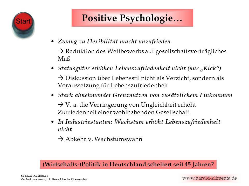 www.harald-klimenta.de Harald Klimenta Wachstumszwang & Gesellschaftswunder Positive Psychologie… Zwang zu Flexibilität macht unzufrieden  Reduktion