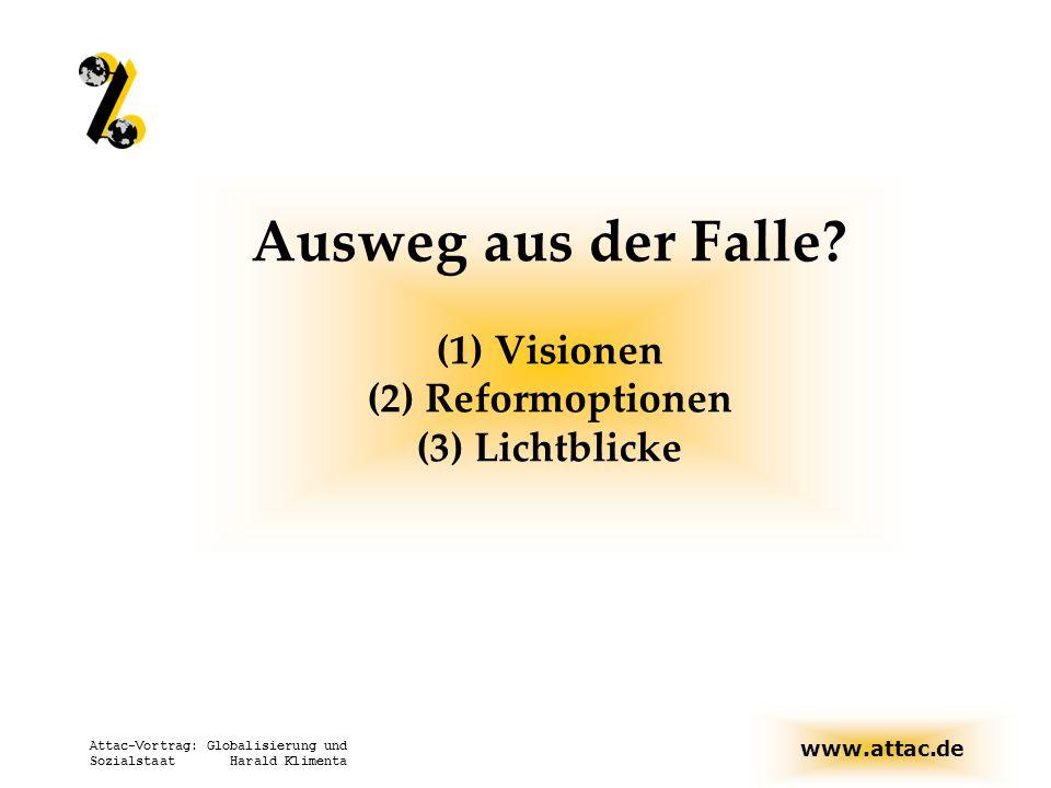 www.attac.de Attac-Vortrag: Globalisierung und Sozialstaat Harald Klimenta Ausweg aus der Falle? (1) Visionen (2) Reformoptionen (3) Lichtblicke