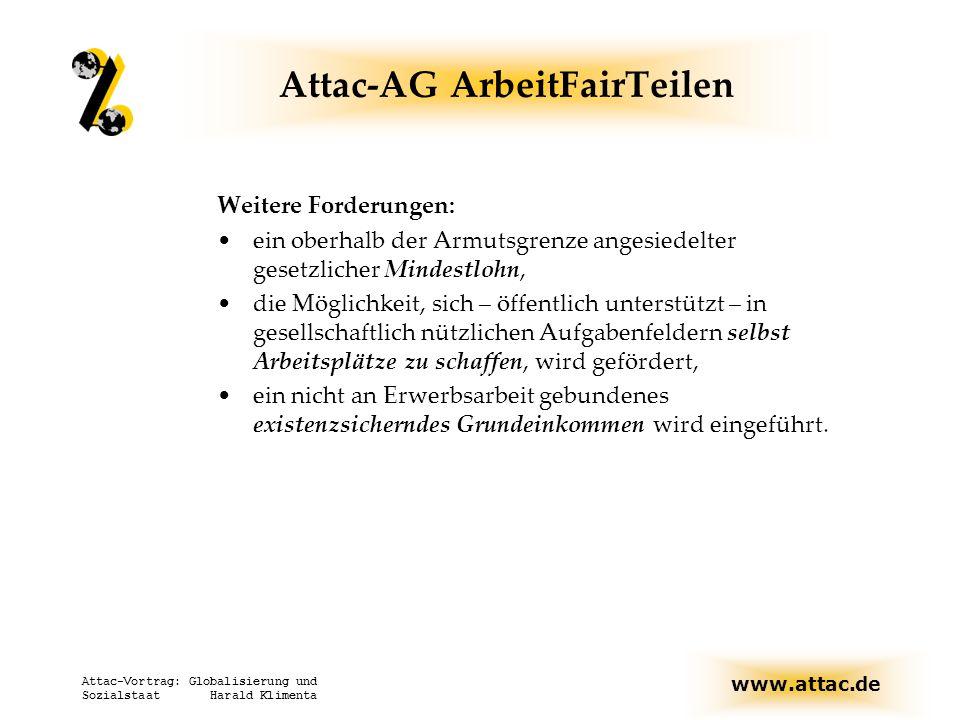 www.attac.de Attac-Vortrag: Globalisierung und Sozialstaat Harald Klimenta Attac-AG ArbeitFairTeilen Weitere Forderungen: ein oberhalb der Armutsgrenz